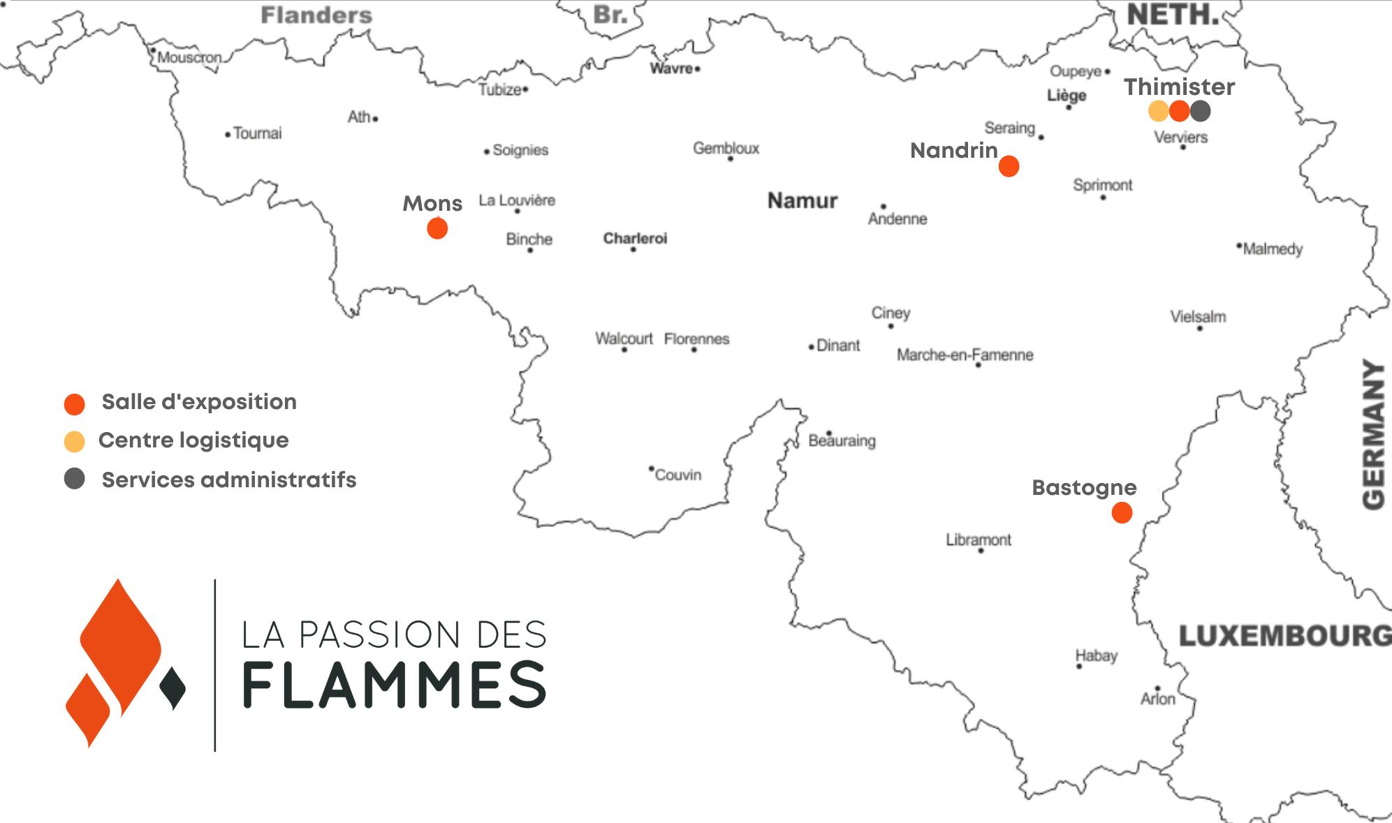 Carte magasins La Passion des Flammes